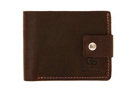 Кожаное мужское портмоне Grande Pelle 54212023 мужской кошелек шоколад с песочным, фото 2