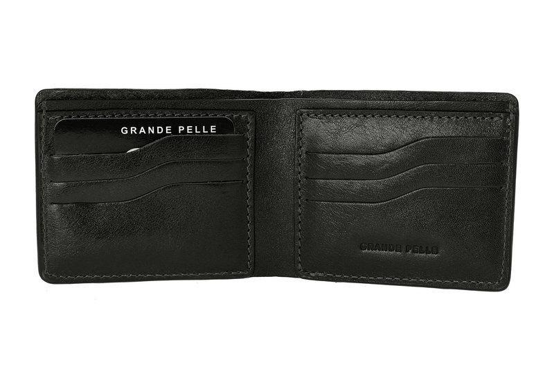 Кожаное мужское портмоне Grande Pelle Onda 507610 мужской кошелек черный