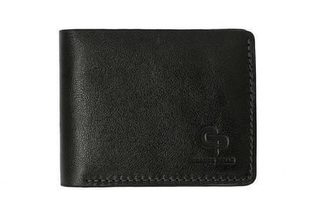 Кожаное мужское портмоне Grande Pelle Onda 507610 мужской кошелек черный, фото 2