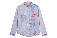Рубашка для девочки с вышивкой р.128,140,146,152,158 с длинным рукавом Flower SmileTime, синяя