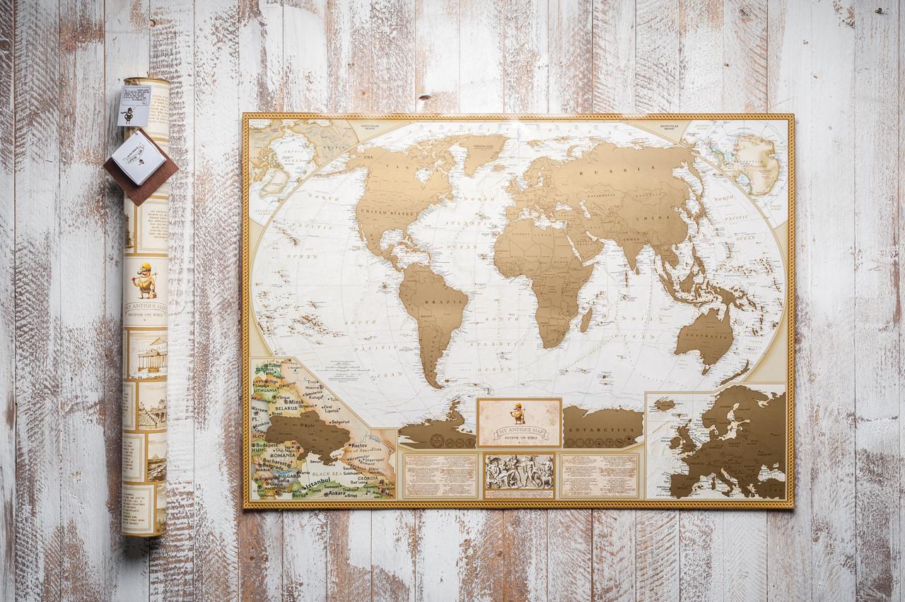Скретч карта мира золотая в тубусе Мира antique map