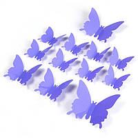 Виниловые 3Д бабочки для декора сиреневые