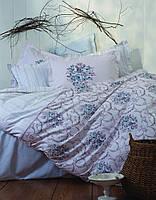 Cтеганный комплект постельного Karaca Home - Edie голубое ранфорс евро