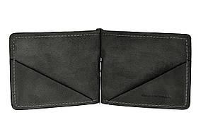 Зажим для купюр кожаный Grande Pelle 103110, зажим для денег черный