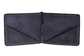 Зажим для купюр кожаный Grande Pelle 103170, зажим для денег синий