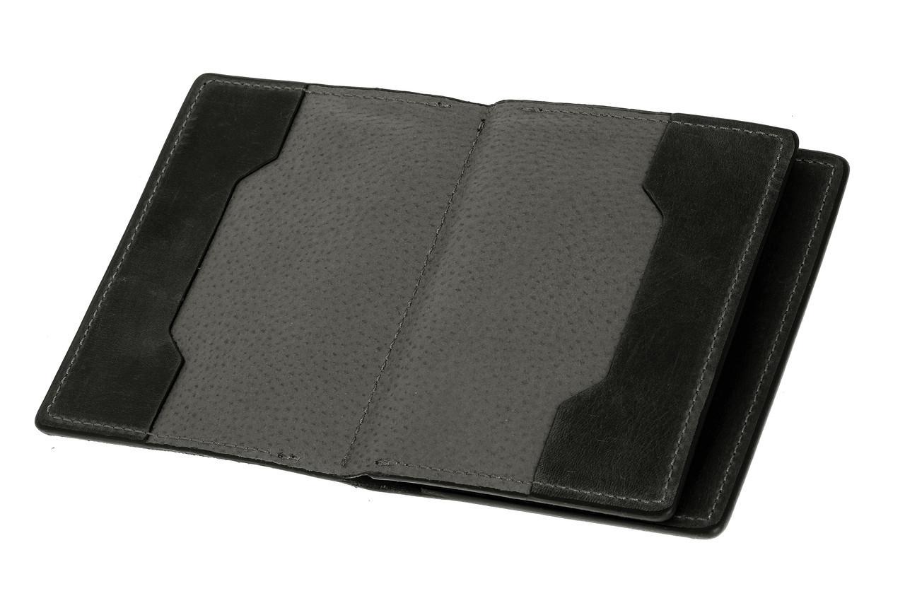 Обложка для документов, паспорта, автодокументов с отделом для карт, черный (матовая)