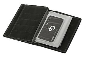 Обложка для документов, паспорта, автодокументов с отделом для карт, черный (матовая), фото 2