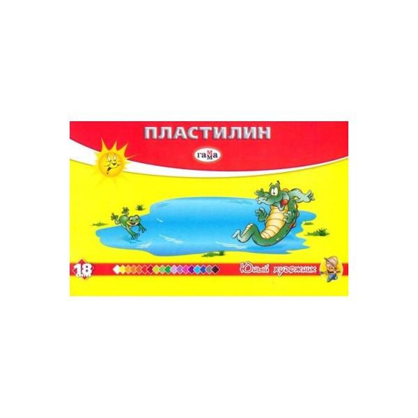 Пластилин ГАММА-Рос Юный Художник 280047, 18 цветов 252 гр, стек
