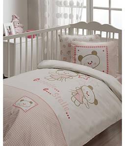 Детский набор - постельное с защитой в кроватку Karaca Home Stelle розовый