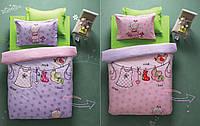 Подростковый комплект постельного Karaca Home - Molly розовый-лиловый со стеганным пододеяльником
