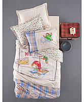 Детское постельное белье Karaca Home - Matey голубое ранфорс подростковое