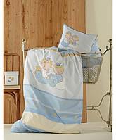 Детское постельное белье для младенцев Karaca Home - Mini перкаль голубой
