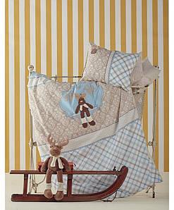 Постельное белье для младенцев Karaca Home - Deer перкаль голубое