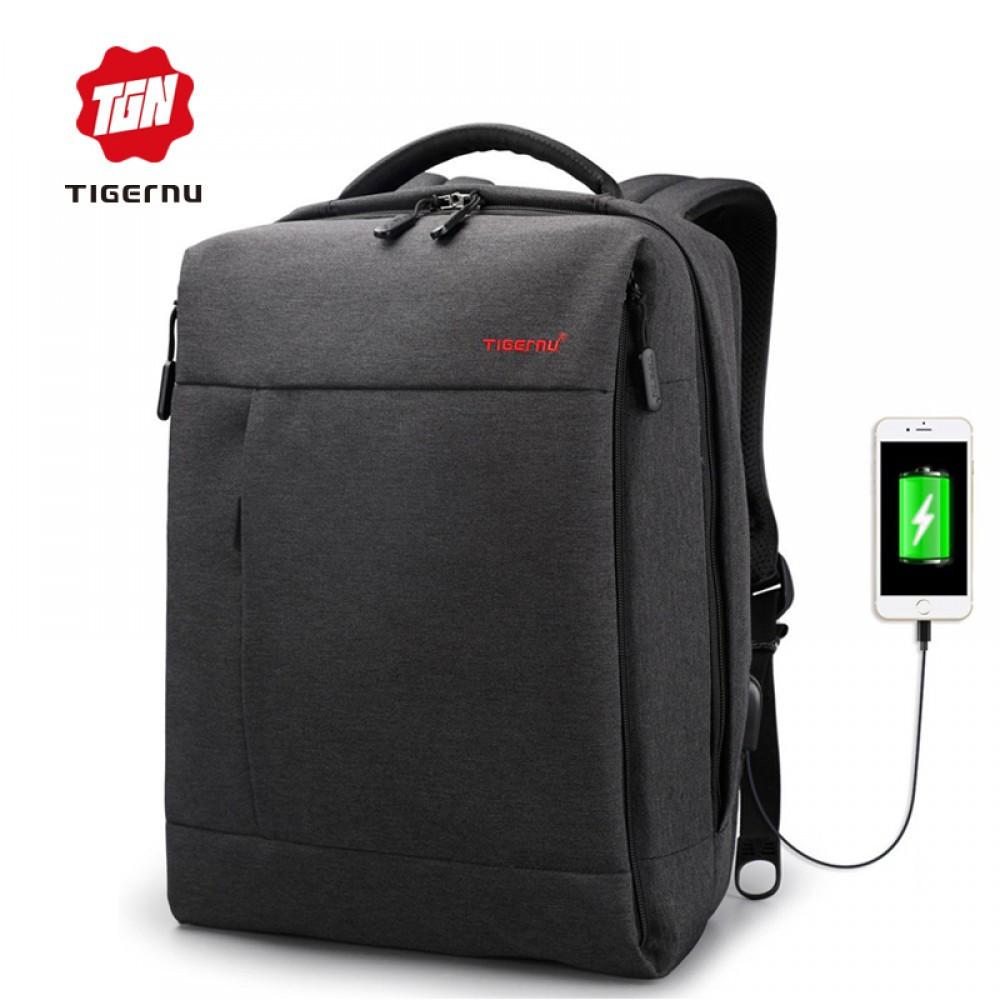 """Стильный городской рюкзак антивор на 20л TIGERNU T-B3269 спортивный , сумка для ноутбука 15,6"""" с USB, Черный"""
