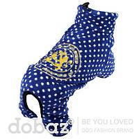 Флисовый комбинезон  для собак KINGS DOG сапфировый синий, размер S