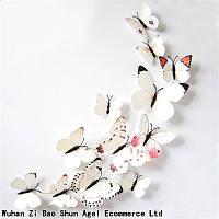 3Д бабочки для декора белые с узором, фото 1