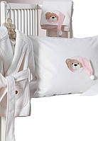 Набор в ванную Karaca Home Bear розовый (полотенце, халат, уголок)