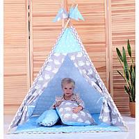 Вигвам Комплект Ноченька голубой с подушками, детская игровая палатка