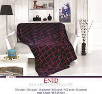 Плед хлопковый U.S.Polo Assn - Enid синий 200х220 двуспальный