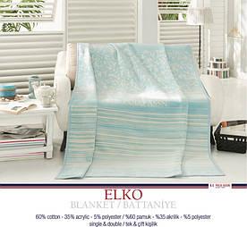 Плед хлопковый U.S.Polo Assn - Elko голубой 200х220 двуспальный