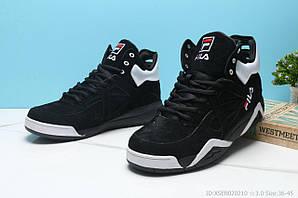 Фила кроссовки мужские кожаные черные синие повседневные (реплика) Fila Vita Black