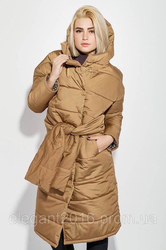 Пальто женское на синтепоне, с широким поясом 72PD215 (Терракотовый)