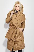 Пальто женское на синтепоне, с широким поясом 72PD215 (Терракотовый), фото 1