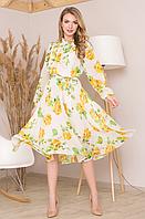 Летнее платье из шифона с цветочным узором и длинным рукавом