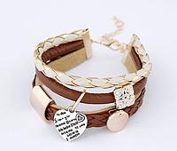 Модний браслет прикраса на застібці з плетінням з шкіри і підвісками