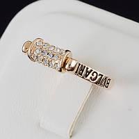 """Упоительное кольцо """"BVLGARI"""" с кристаллами Swarovski, покрытое золотом 0647"""