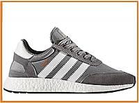 Мужские кроссовки Adidas Iniki Runner Boost Grey White (адидас иники, серые)