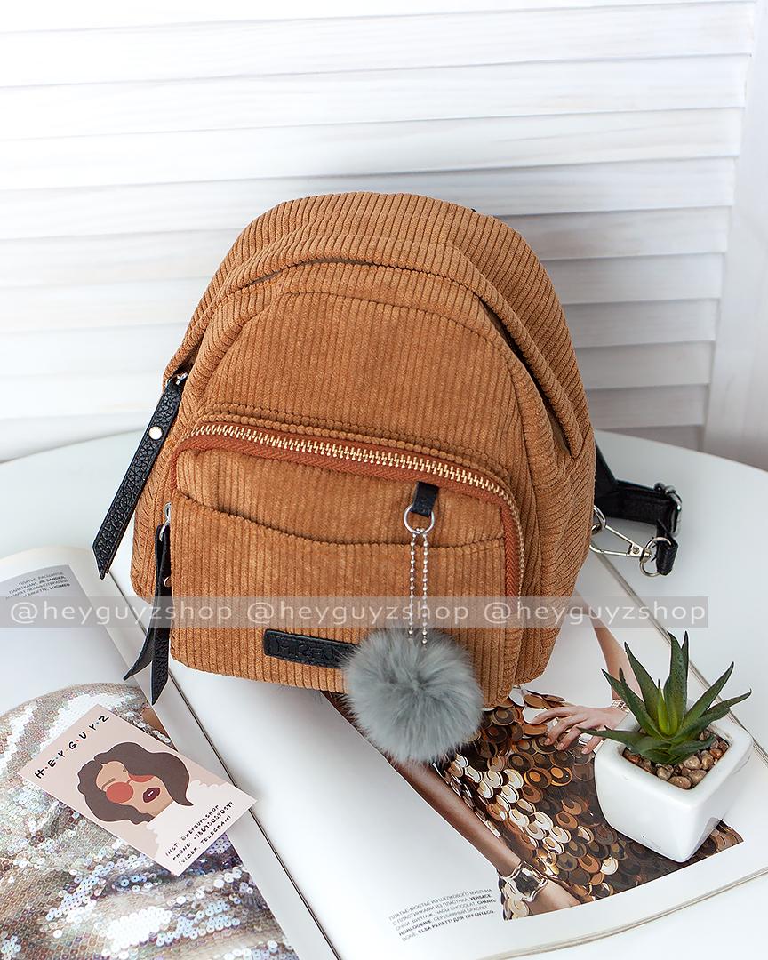 Рюкзак женский мини сумка трансформер маленький замшевый бартахный вельветовый коричневый песочный