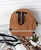 Рюкзак женский мини сумка трансформер маленький замшевый бартахный вельветовый коричневый песочный, фото 4