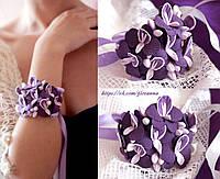 """""""Фиолетовые орхидеи"""" авторский браслет с цветами на руку для девушки, фото 1"""