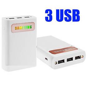 Power Bank SAMSUNG 15000mAh 3USB(1A+2A+2A), цветной индикатор заряда, фонарик 2LED -128 (4800)