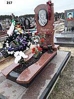 Елітний памятник на могилу з хрестом червоного граніту