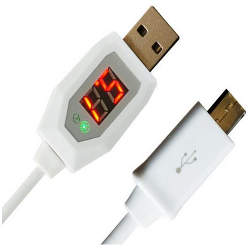 Кабель micro USB с тестером напряжения и силы тока