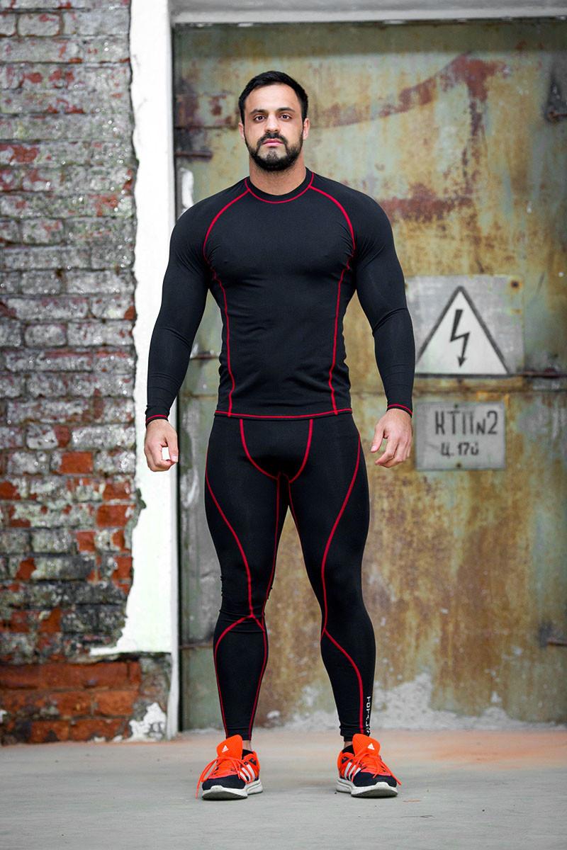 Рашгард мужской Totalfit RM4-Y74 4XL Черный, Красный