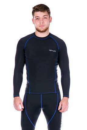 Рашгард чоловічий з синьою стрічкою Totalfit RM4-Y75 4XL Чорний, Синій, фото 2