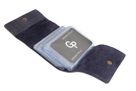 Кожаная визитница на 48 карт Grande Pelle 312170 синяя матовая, фото 2