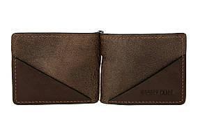 Зажим для купюр кожаный Grande Pelle 103620, зажим для денег, шоколад глянцевый