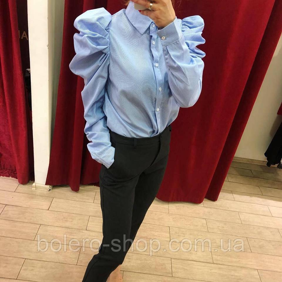 Блуза рубашка женская голубая с гофрированным рукавом