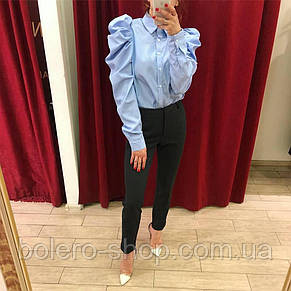 Блуза рубашка женская голубая с гофрированным рукавом , фото 2