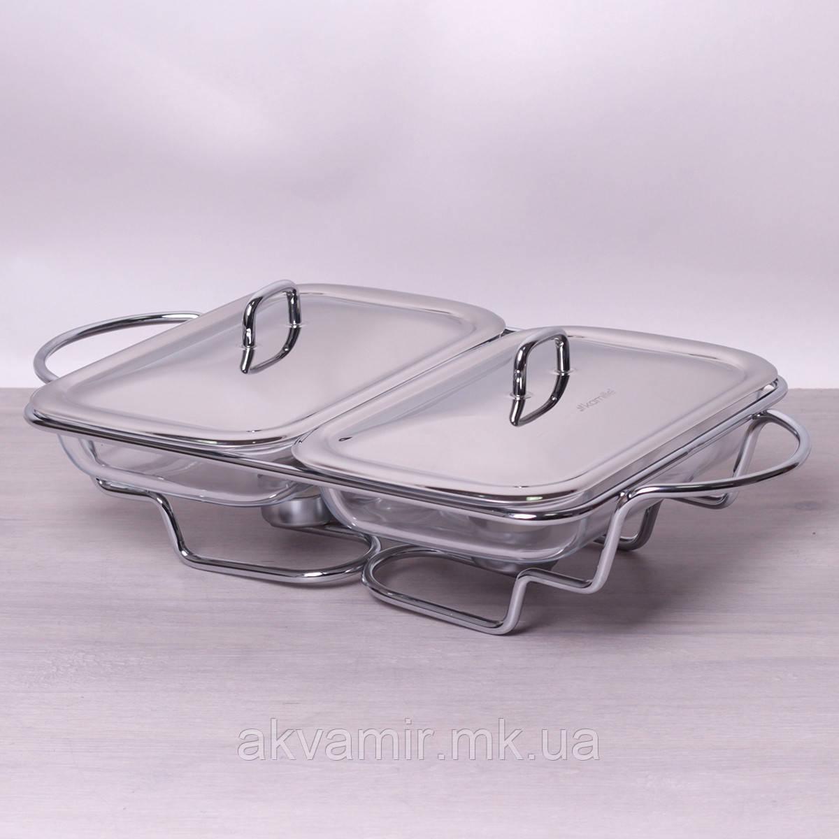 Мармит двойной стеклянный 2*1.5 л с металлическими крышками и подставкой