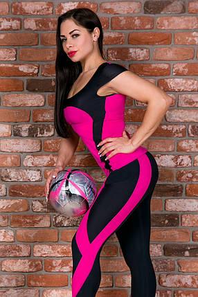 Футболка спортивная Totalfit Z3-C3/10 M Малиновый, черный, фото 2