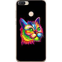 Силиконовый чехол с рисунком для ZTE Blade V9 Яркий кот