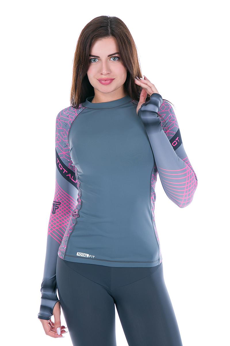 Рашгард женский Totalfit RW1-15 L черный,розовый, фиолетовый