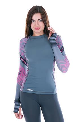Рашгард женский Totalfit RW1-15 L черный,розовый, фиолетовый, фото 2
