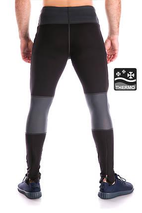 Теплі бігові тайтсы Totalfit TG2 XXL Чорний з сірим, фото 2
