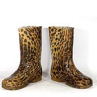 """Женские резиновые сапоги высокие """"Леопард"""""""